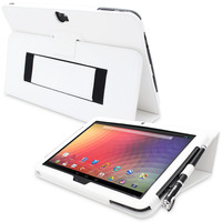 Snugg case for Nexus 10 Case Cover and Flip Stand in White Leather