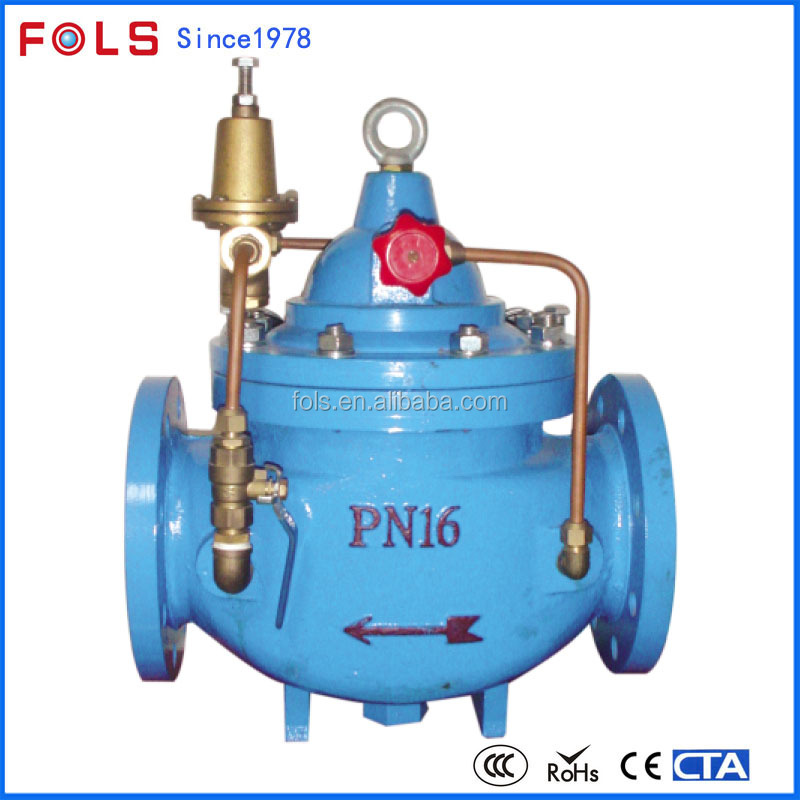 Hydraulic natural gas water pressure reduce control valve