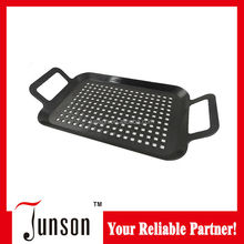 2015 New Design Porcelain Enamel Grill Pan/Non-Stick Barbecue Roasting Pan With Holders