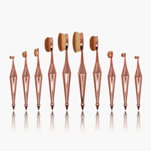 ROSE GOLD custom logo makeup brush set professional oval 10pcs