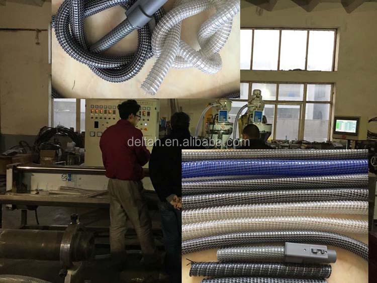 eva plastic spiral suction hose vacuum cleaner fiber yarn and steel wire reinforcement hose extrusion line