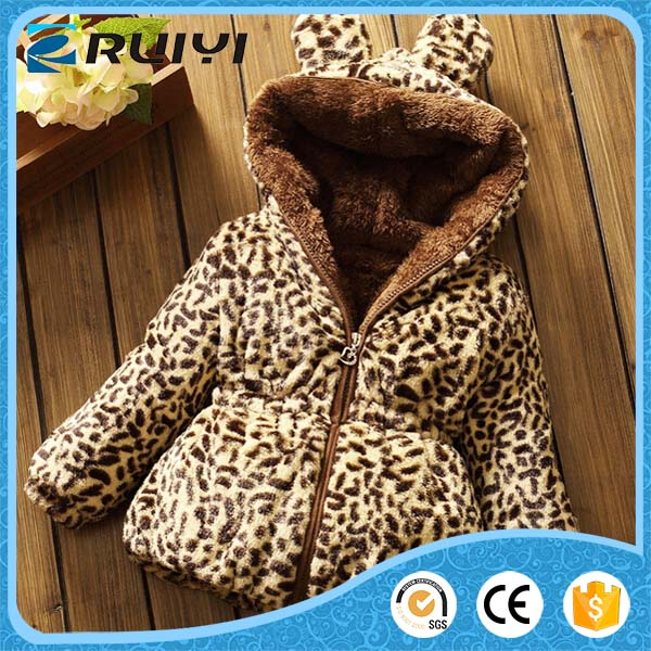 New stylish children's clothing leopard faux fur winter coat with hood