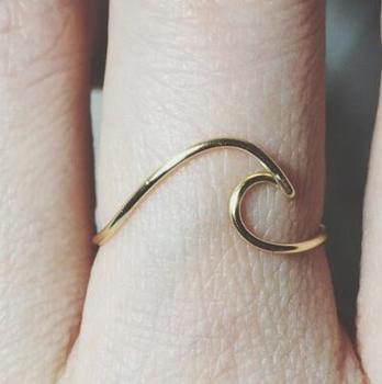 gold filled surfing ocean beach jewelry Sterling silver Wave Ring