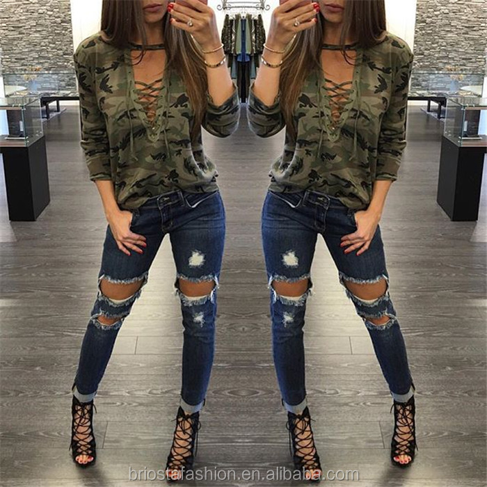 Wholesale Women Sexy Lace Up Shirts Army Military Camouflage Blouse