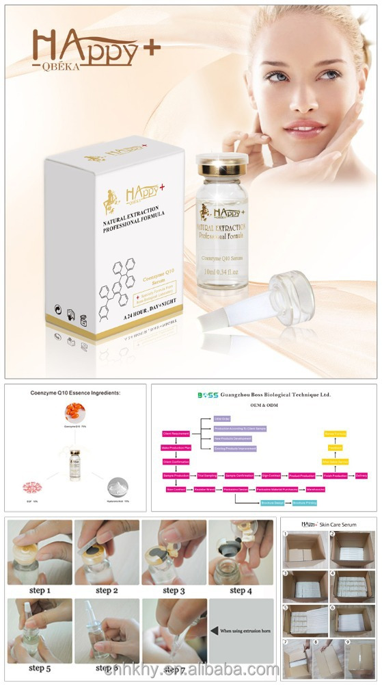 Smooth over wrinkles and improve skin's elasticity QBEKA Happy+ Coenzyme <strong>Q10</strong> Serum <strong>gold</strong> serum anti aging serum