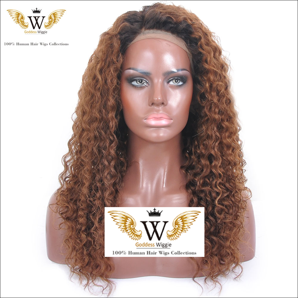 Silk Top Kinky Curly Two Tone Full Lace Wig Ombre Brazilian Virgin Silk Base Lace Human Hair Wigs for Black Women