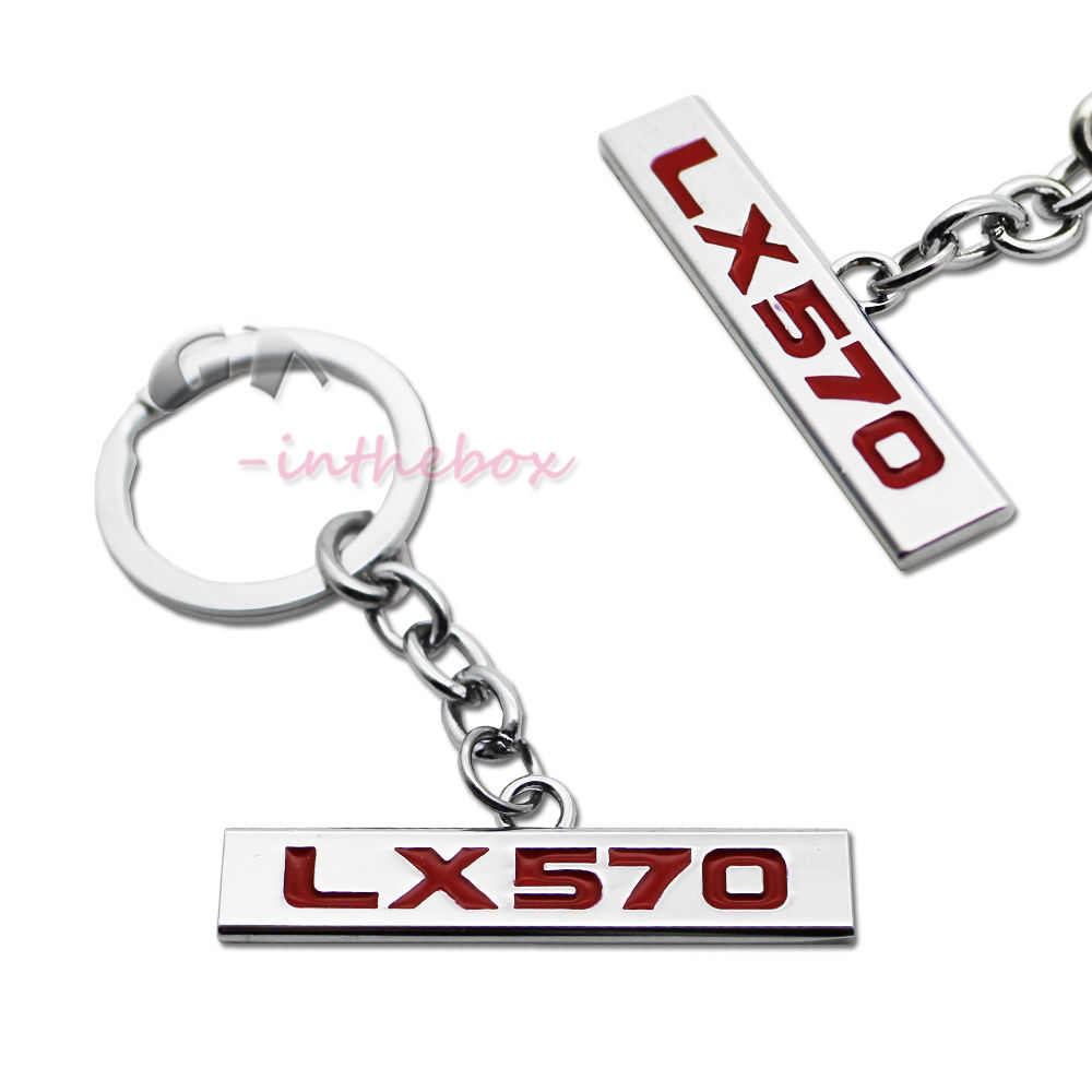 3D Metal Red LX570 Keychain Key Chain Fob Ring for Lexus LX570, etc
