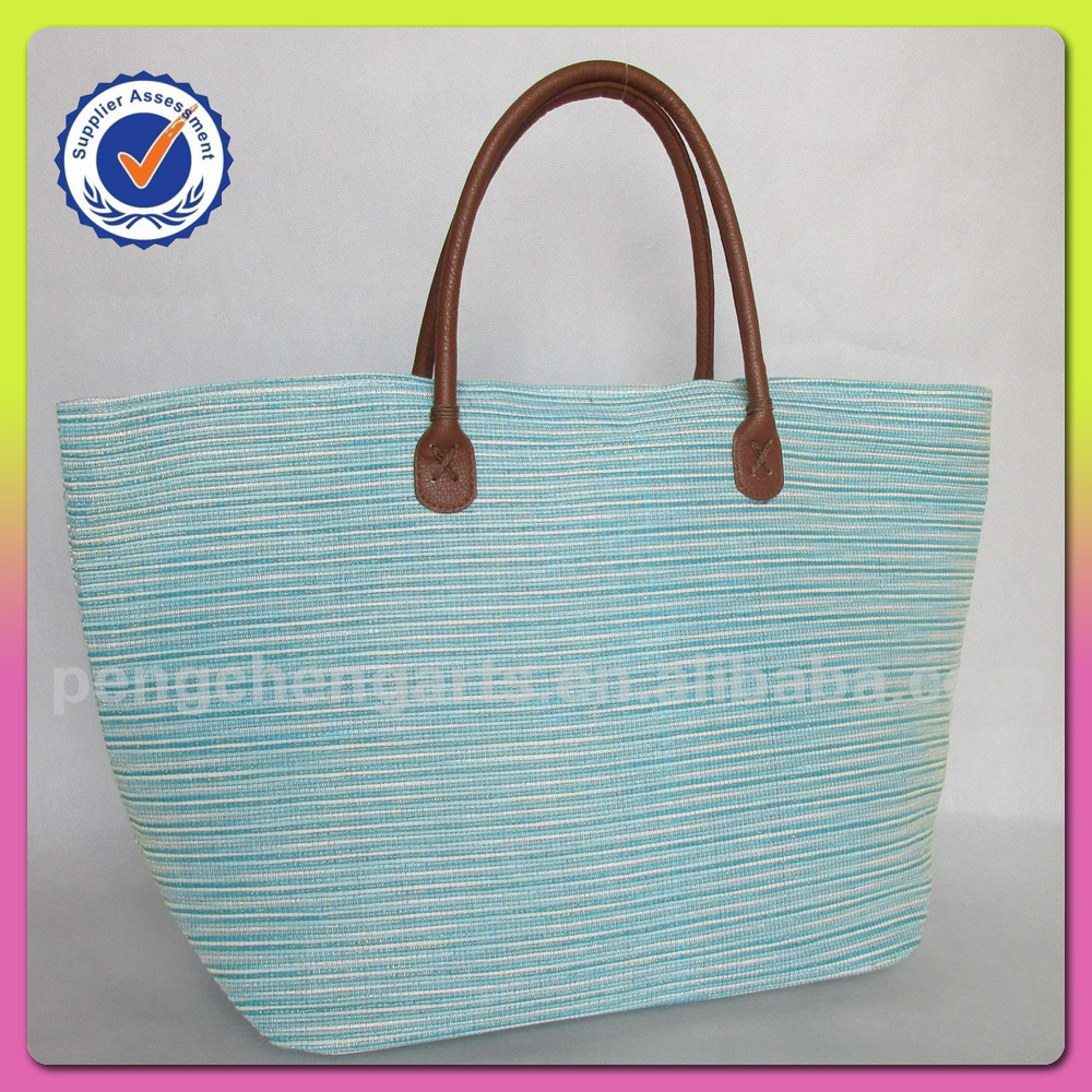 Fashion Blue Beach Bag For Paper Straw Latest Design Polyster Handbags