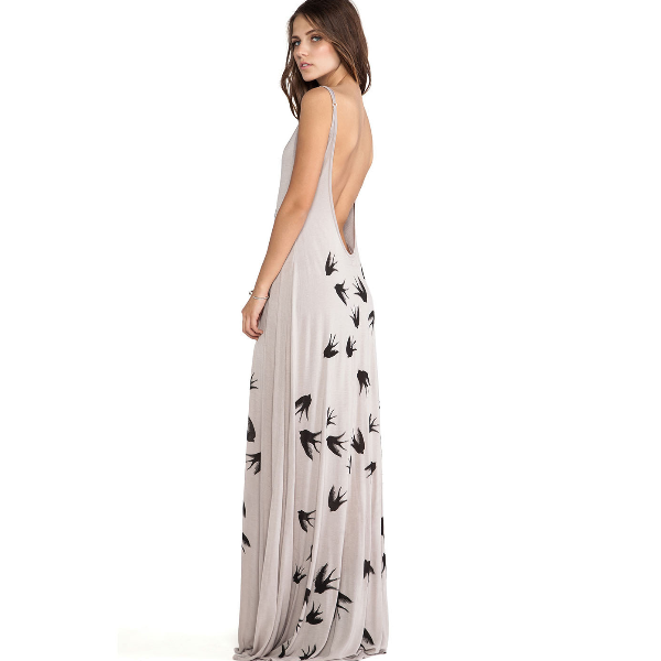 MS61916W women fashion dress printed backless women evening gown