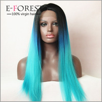 Long 1B/Blue/Green Three Tone Virgin Brazilian Lace Front Wig Ombre Sex Wig For Black Women