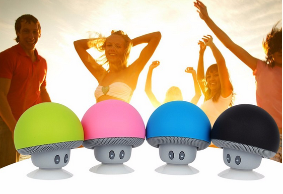 2017 Mini Bluetooth Speaker Mushroom Style with Mic Suction Cup Stereo Subwoofer Bluetooth speaker Mini Portable Speakers