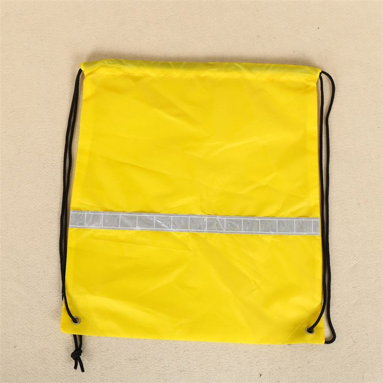 New coming high capacity siler stripes pattern yellow polyester folding grocery shopping bag