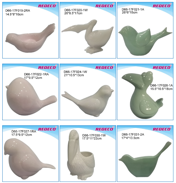 2017 hot products ceramic glazed bird ornaments