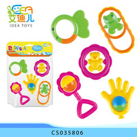 Infant toys lovely cartons baby rattle for wholesale in PVC bag