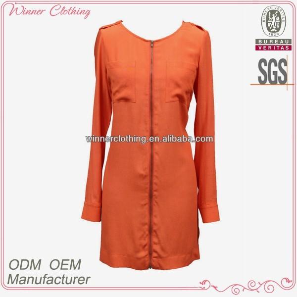 Women's Clothing Manufacturer New Arrivals Hign Fashion Long Sleeve Front Bust Open Orange Colored Dresses