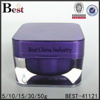 15ml 30ml 50ml square acrylic plastic container, cosmetic packaging face cream jar