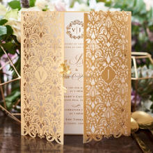 2018 Hot Sale Luxury Gold Laser Cut Wedding Invitation <strong>Cards</strong> With Envelope
