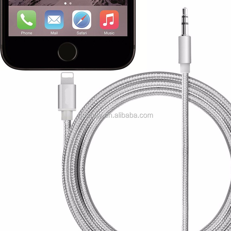 Aluminium 8Pin to 3.5mm Male Aux Audio Cable, 8pin to 3.5mm Headphone Jack Adapter Converter Cable for iphone 7/ 7plus
