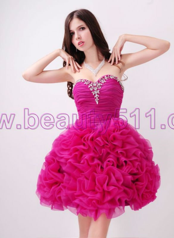 Astergarden real photo Sweetheart Beading Rose Prom Organza Cocktail dress AS145