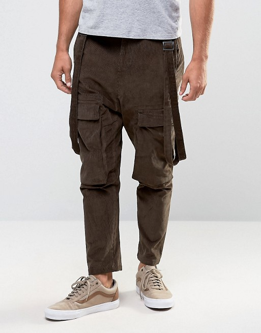 Custom Manufacturer Utility Pockets Strap Drop Crotch 100% Cotton Cord Breathable Functional Brown Men's Cargo Bib Pants