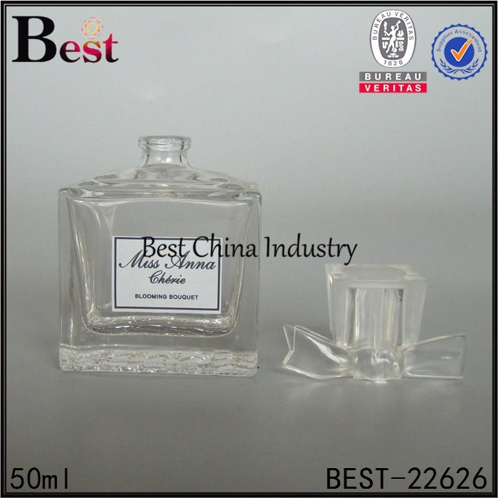 50ml fashion personalized beautiful surlyn cap empty designer square clear bottle perfume glass