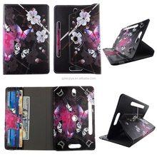 Gradient Color Flower Butterfly HD Print Design Universal 360 Rotary PU Leather Folio Stand Shockproof Flip Tablet Case