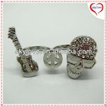 2014 fashion cheap guitar skull alloy double rings