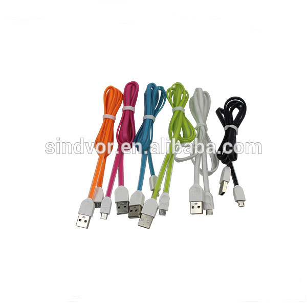 NEW Arrival! Colorful Micro usb flat driver download noodle date cable