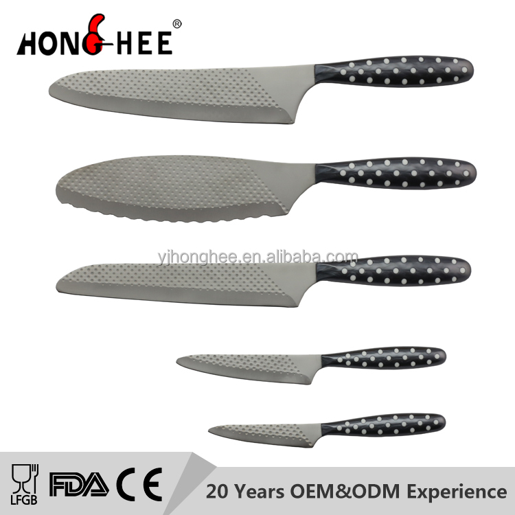 Unique Patent Stainless Steel Kitchen Knife Set Wave Point Sandblasting Blade Non Slip PP Handle