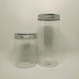 Beautiful bath salt frosted plastic jars for cosmetic products with screw caps
