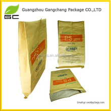 2 layers strong custom 50 kg 25kg kraft paper bag with pp woven inside
