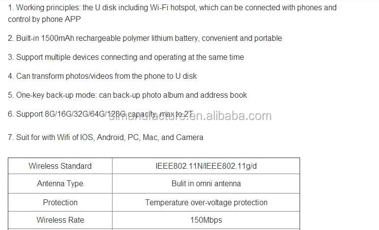 U disk including WIFI hotpot/Can connect with phone