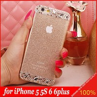 DIY Handmade Rhinestone Bling Diamond TPU Soft Bling Shining mobile cell phone Case Cover for Apple iPhone 5 5s 6 6 plus
