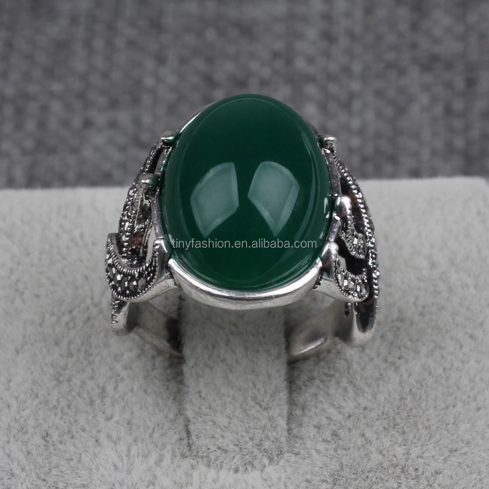Vintage antique silver large stone dome green jade ring