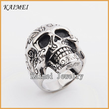 Alibaba Cheap Halloween Mens Special Customized Casting Silver Masonic Skull Rings