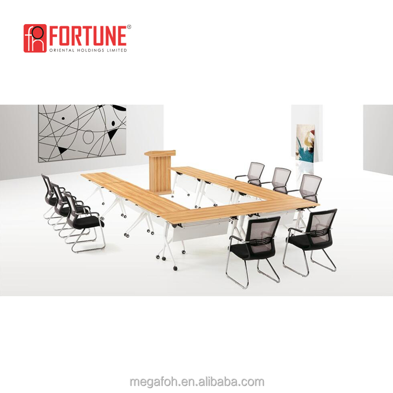 Free combination folded movable <strong>U</strong> shaped conference tables with wheels(FOH-TD-1207-H)