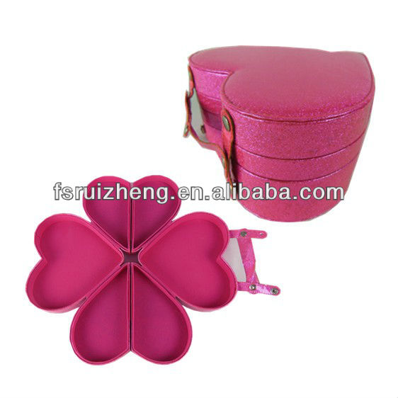 2013 best buy pink heart-shaped plastic cosmetic case for woman used RZ-LCO011