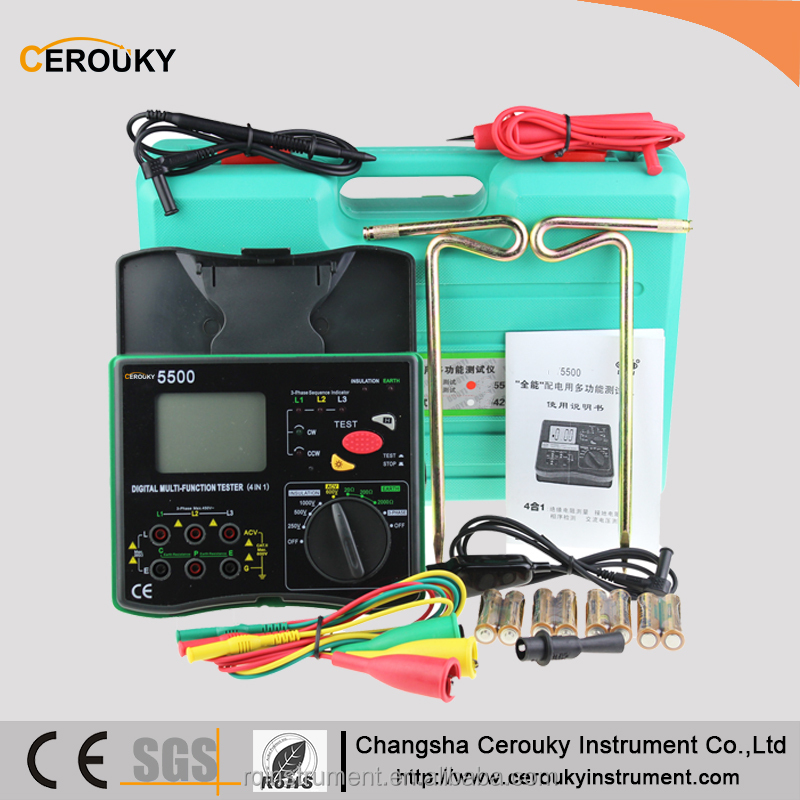 China Multi function earth meter,insulation resistance tester ,phase sequence indicator,5500