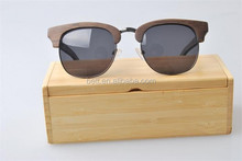 UV400 polarized lens wood and bamboo sunglasses handmade Semi- Rimless wooden sunglasses