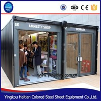 Mobile metal container buildings restaurant//designer fast food kiosk/prefabricated bar for sale