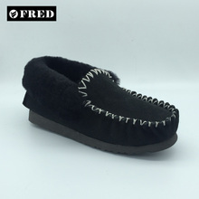 Man natural twin face sheepskin moccasin manufacture