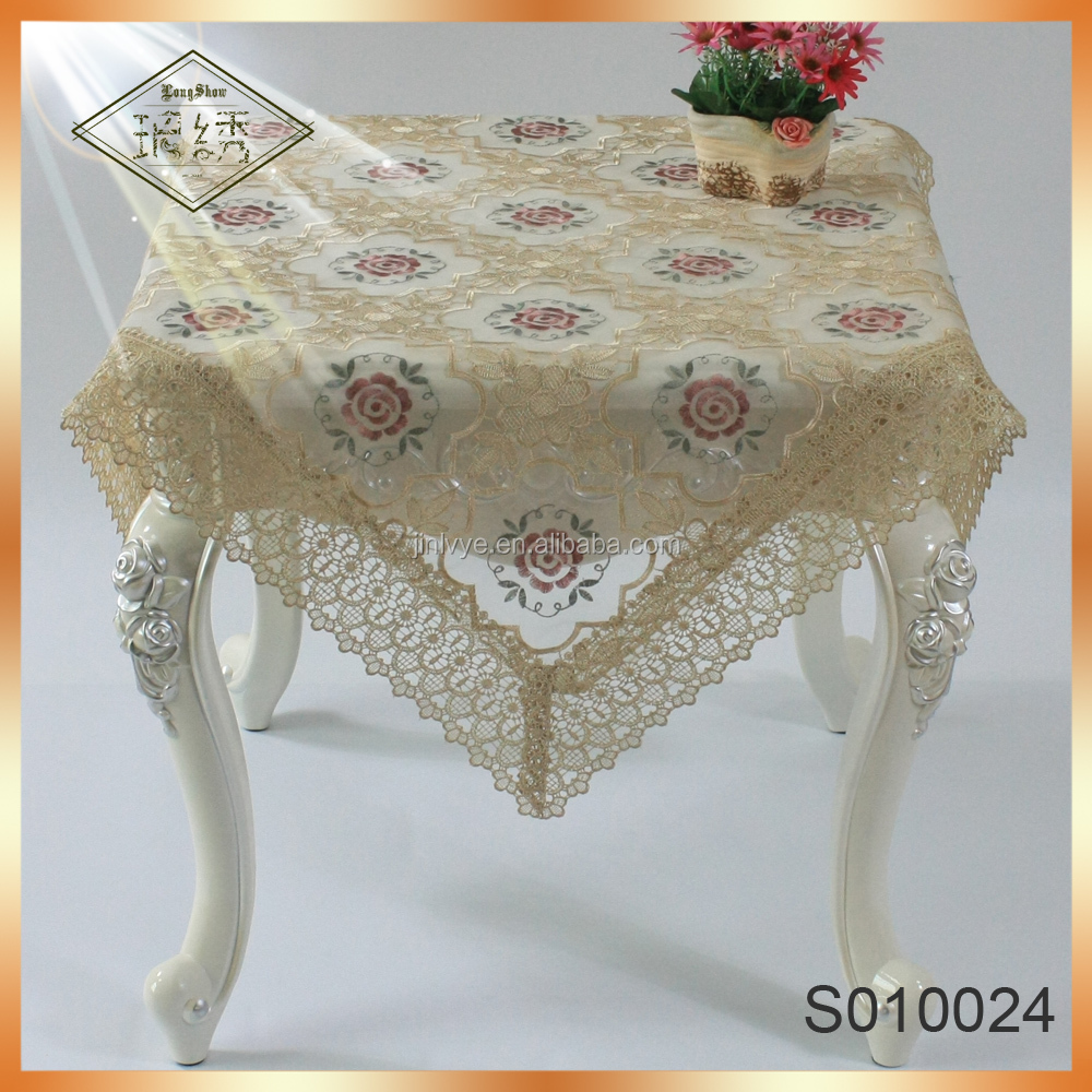 Fancy wedding embroidered lace tablecloth table overlay