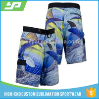 Wholesale custom quick dry polyester 4 way stretch custom printed men stretch boardshorts