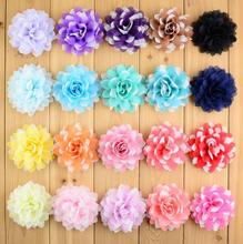 20 colors 3'' Factory new wholesale Chiffon flowers without clip head DIY flower for hair Band hair accessory