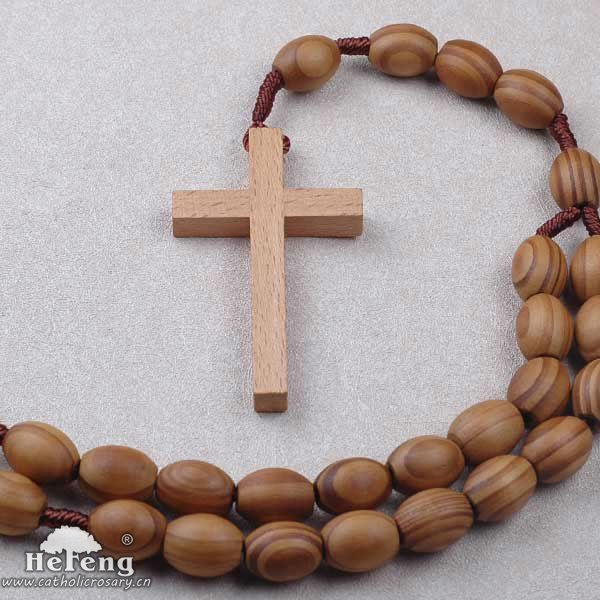 Pine Wooden Beads Wall Rosary