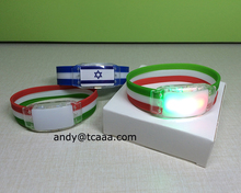 Led flashing country flags silicone bracelet national flag bracelet for World Cup Brazil