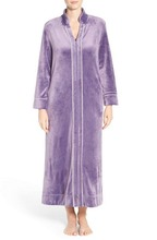 Shining ankle length side pockets front zipper plush velour robe