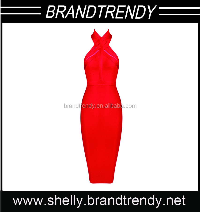 Woman dress bandage halter neck red designer one piece party dress