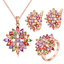 3 Pieces Flower Gold Wedding Necklace Ring And Earring Sets Women