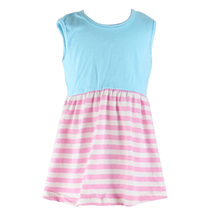 Wholesale bulk summer baby girl party dress newest sleeveless stripe cheap girls party wear dresses fashion cotton easter dress